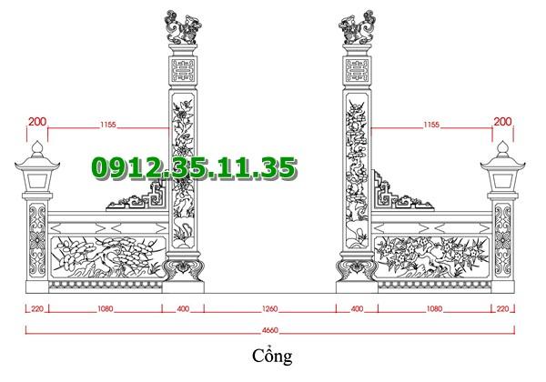 Bản vẽ cổng đá khu lăng mộ