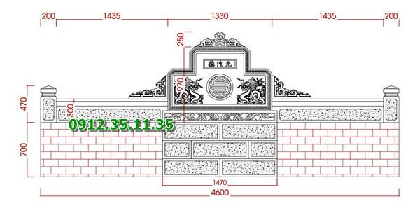 Bản thiết kế cuốn thư bình phong bằng đá