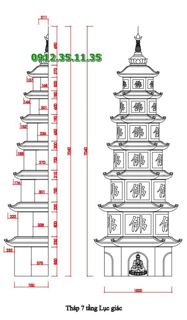 Bản vẽ mộ tháp bằng đá