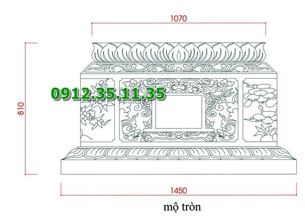 Bản vẽ chi tiết mộ đá tròn