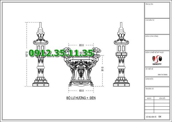 Bản vẽ thiết kế chi tiết lư hương đá và đèn đá