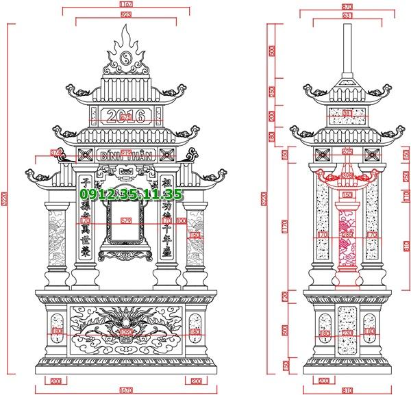 Bản vẽ thiết kế lăng thờ đá dòng họ, gia tộc đẹp