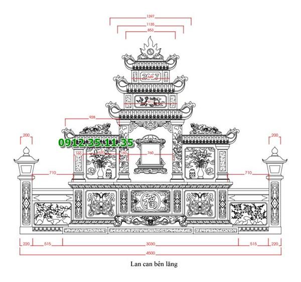 Bản thiết kế lăng thờ cánh cùng lan can và đèn đá