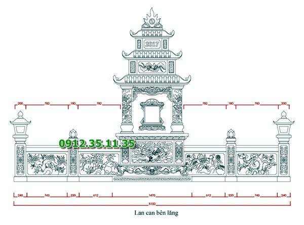 Bản vẽ thiết kế lăng thờ đơn và lan can hai bên