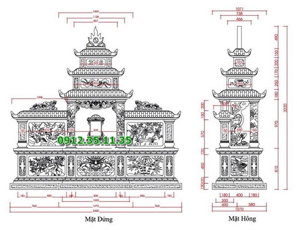 Chi tiết bản vẽ lăng thờ bằng đá