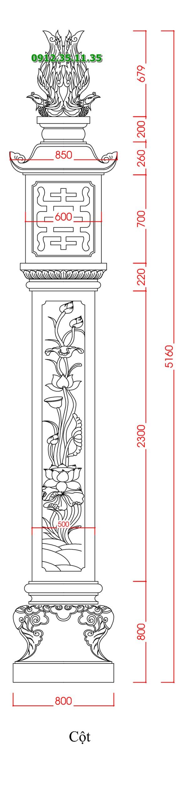 bản vẽ thiết kế chi tiết cột đồng trụ nhà thờ họ